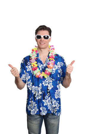 Man standing on white background with hawaiian shirt Stock Photo - 9098019