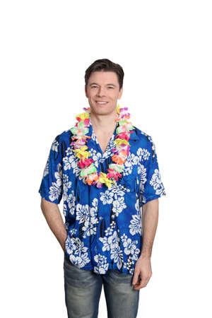 Man standing on white background with hawaiian shirt photo