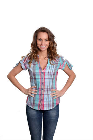 Beautiful woman standing on white background Stock Photo - 9098011