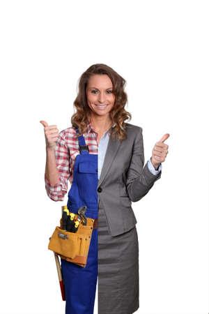 Woman artisan and businesswoman on white background photo