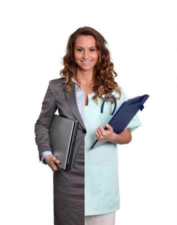enfermeros: Mujer trabajadora y medicalcare de Oficina