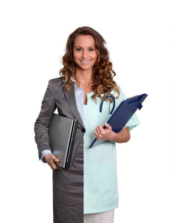 Office worker and medicalcare woman photo