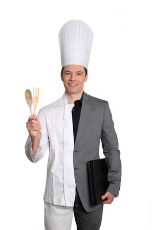 Businessman and chef on white background photo