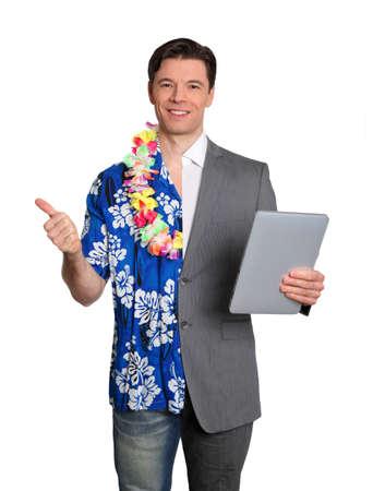 fiestas electronicas: Vacaciones de tecnolog�a y tropical de negocio Foto de archivo