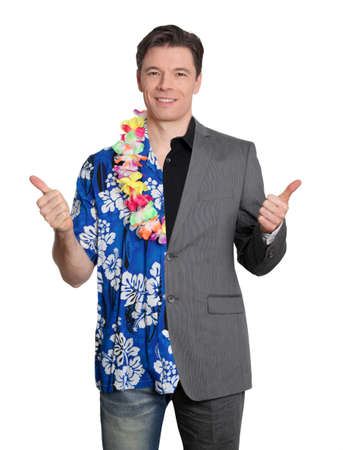 Happy businessman and cheerful lottery winner photo