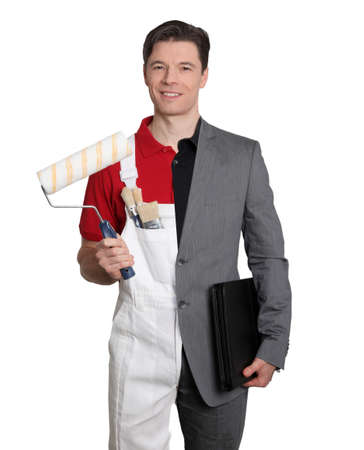 Businessman and home painter on white background photo
