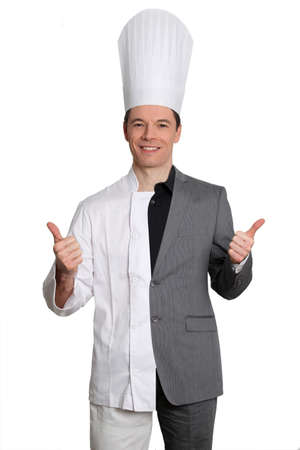 Chef and businessman on white background photo