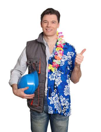 Foreman and man with hawaiian shirt  photo