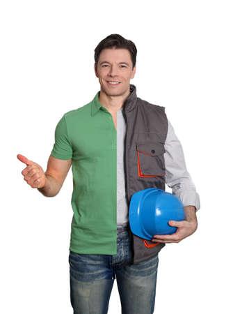 Construction supervisor and happy customer photo