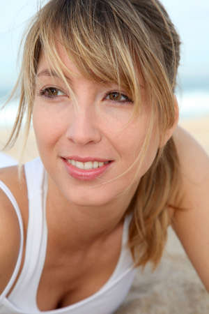 Portrait of beautiful blond woman at the beach Stock Photo - 9213364