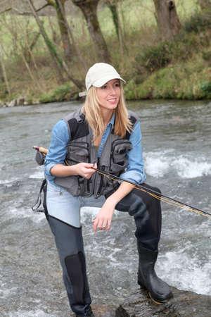 fisherwoman: Woman fly-fishing in river
