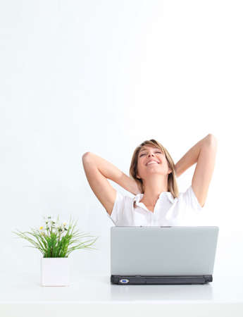 calm woman: Relaxed woman and cool business Stock Photo