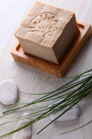 handmade soap: Closeup of argan handmade soap bar