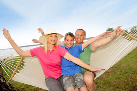 Portrait of family in a hammock photo