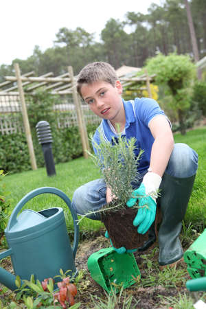 Young boy holding flower pot in garden photo