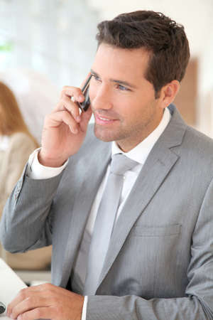 Businessman talking on the phone Stock Photo - 9480799