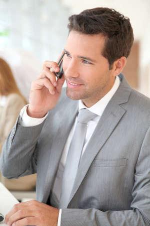 Businessman talking on the phone Stock Photo - 9480799
