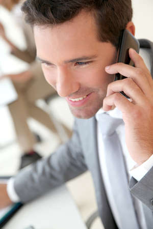 Businessman talking on the phone Stock Photo - 9480602