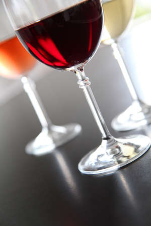 redwine: Closeup on wine glasses