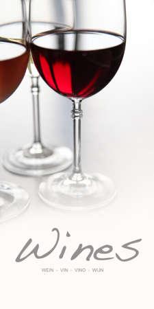 wine list: Closeup on wine glasses for menu cover