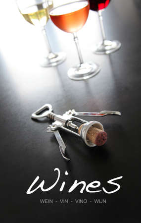 wine cork: Wine cover list with glasses and cork-screw