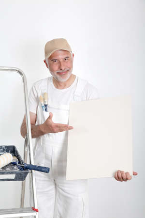 Professional painter showing message board photo