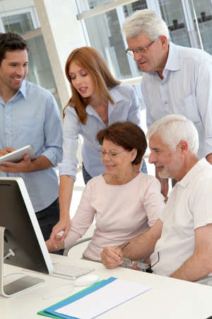 Senior people attending business training Stock Photo - 9634895