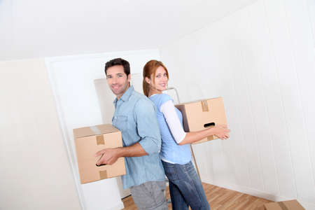 Couple moving in new house photo