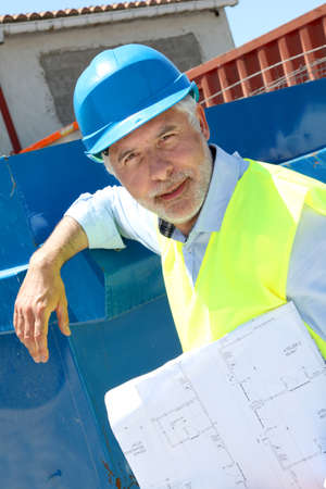 buildingsite: Architect standing on construction site Stock Photo