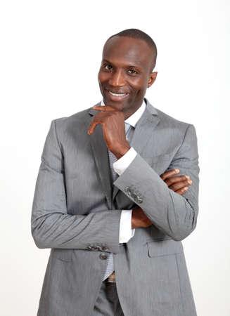 businessman standing: Businessman standing on white background