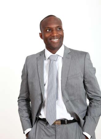 black business man: D'affaires d�contract�e sur fond blanc