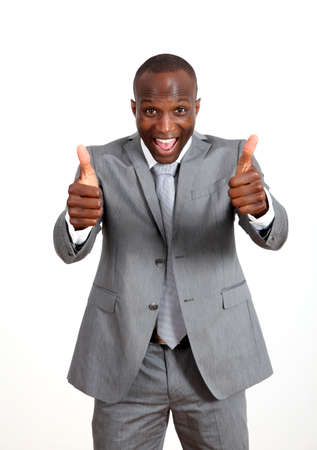 black suit: Cheerful businessman with thumbs up