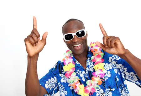 30 years old man: Portrait of happy funny guy with hawaiian shirt