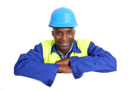 Construction worker with whiteboard isolated Stock Photo - 9634411
