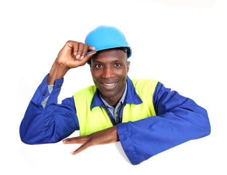 Construction worker with whiteboard isolated photo