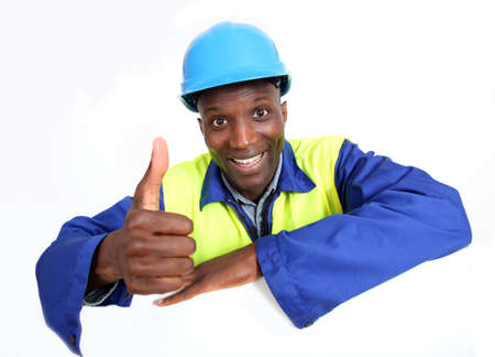 textspace: Construction worker with whiteboard isolated