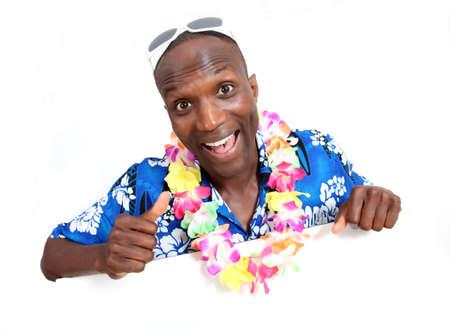 Portrait of happy funny guy with hawaiian shirt photo