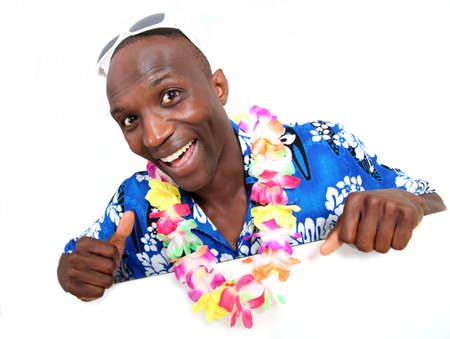 Portrait of happy funny guy with hawaiian shirt photo