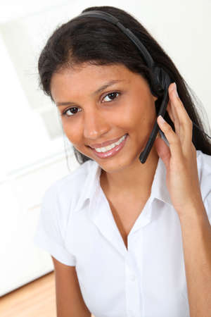 teleoperator: Portrait of smiling customer service operator
