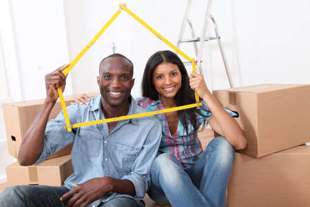 Young couple buying new home photo
