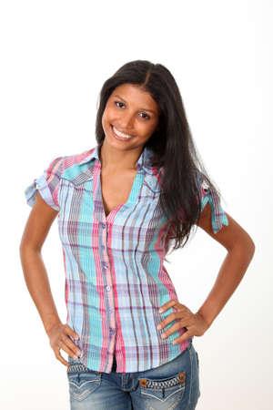 metis: Beautiful hispanic girl on white background