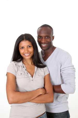 metis: Metis couple standing on white background Stock Photo