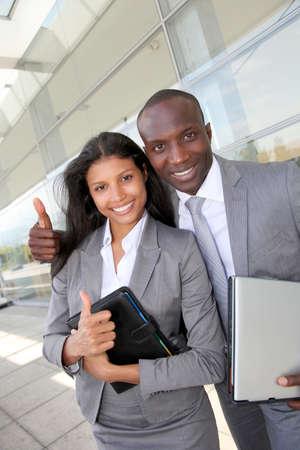 career fair: Business team standing outside congress center Stock Photo