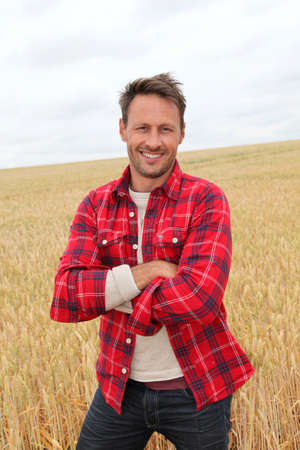 40 years old: Portrait of smiling man in countryside