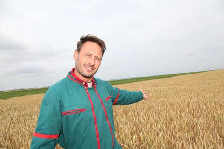 Farmer showing wheat field in spring season photo