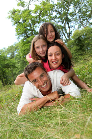 Portrait of happy family in countryside Stock Photo - 9909427