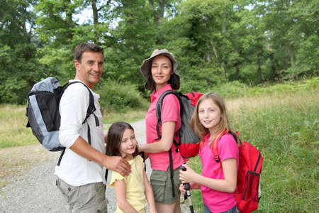 Family on a hiking day photo
