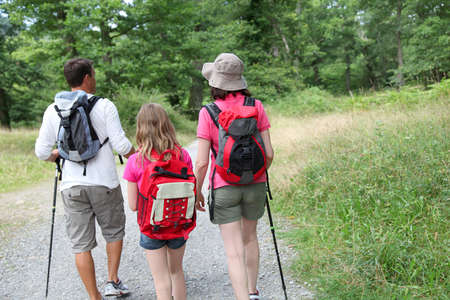 rambling: Family on a hiking day Stock Photo