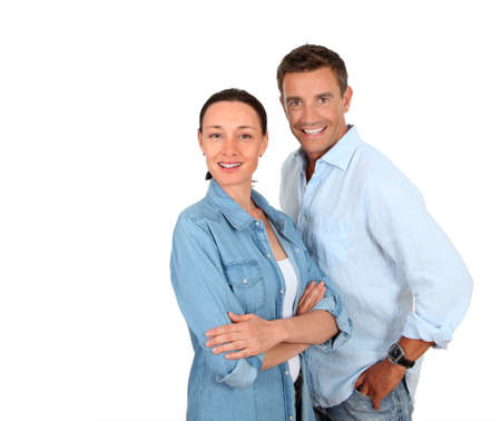 men and women: Couple standing on white background