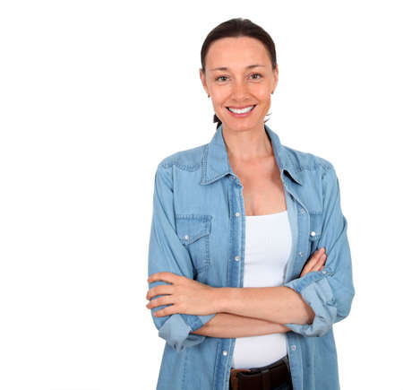 smiling women: Portrait of smiling woman on white background